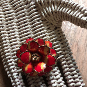 Red & Gold 60s Flower Power Costume Brooch